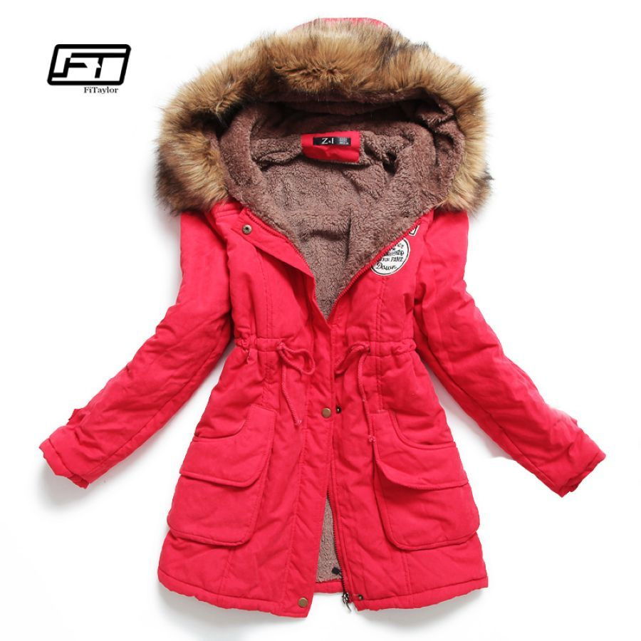 Nueva chaqueta de invierno de mujer de medio-largo grue