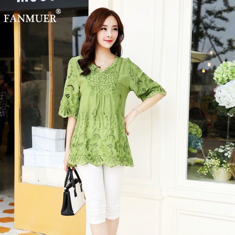 Casual Summer Women Blouses Vintage Embroidery Shirt Short Sleeve Blouse