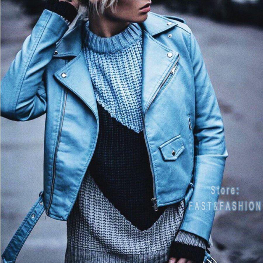 2020 New Fashion Women Autunm Winter Black Faux Leather Jackets