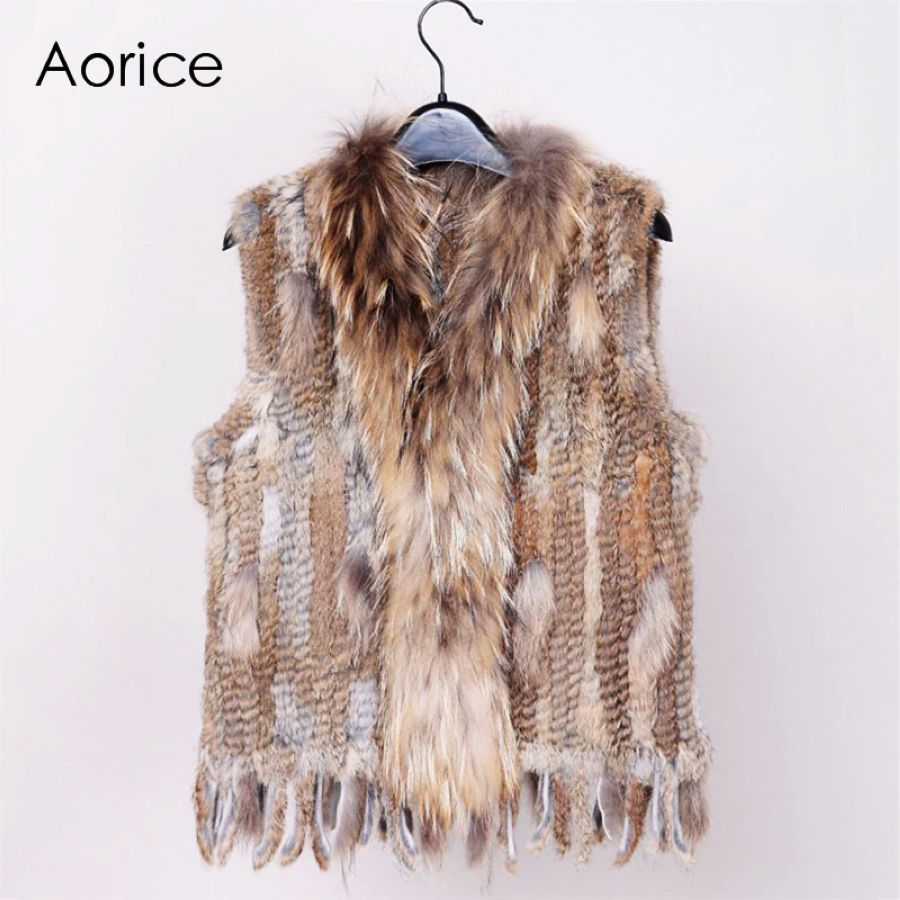 18 Colors Women Genuine Knitted Rabbit Fur Vests With Tassels