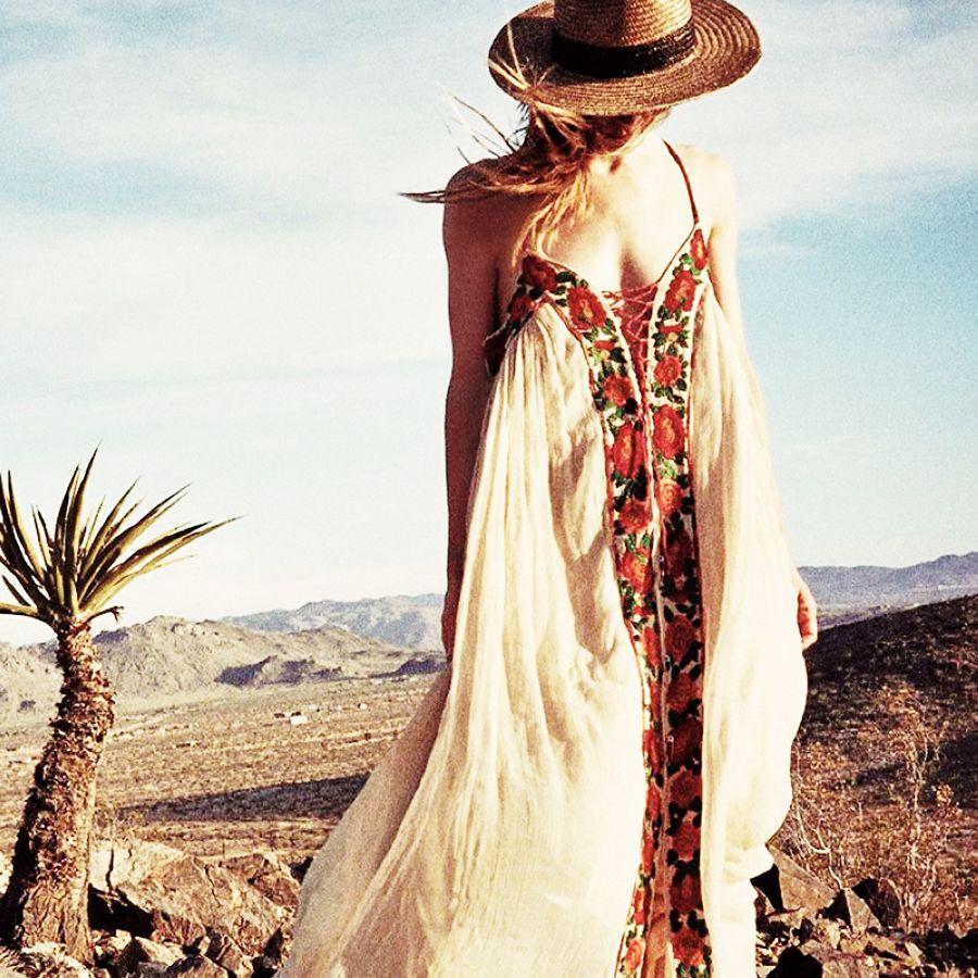 Khalee yose floral bordado boho maxi vestidos verano pl