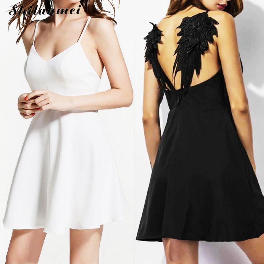 Women Summer Embroidery Dress Femme 2017 Dark Angel Wings Gothic