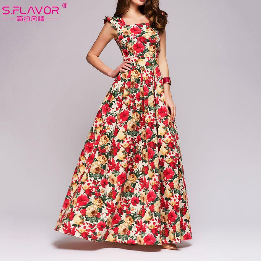 Dresses Sflavor Women Printing Party Dress 2019 Popular Sleeveless Square