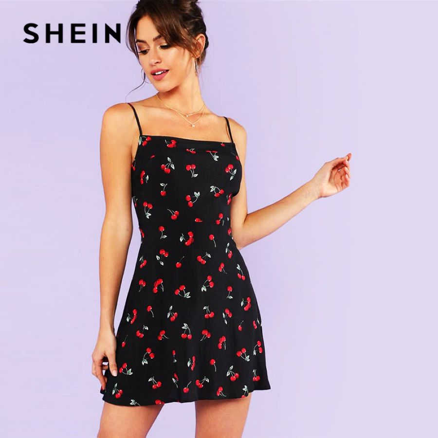Allover Cherry Print Cami Dress Women Spaghetti Strap Sleeveless Zipper