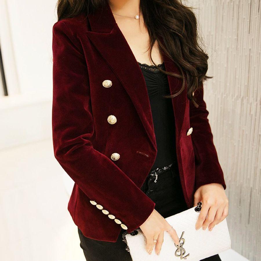 Women's Blazers - New Spring Fashion Midnight Navy Slim Velvet Blazer Jacket