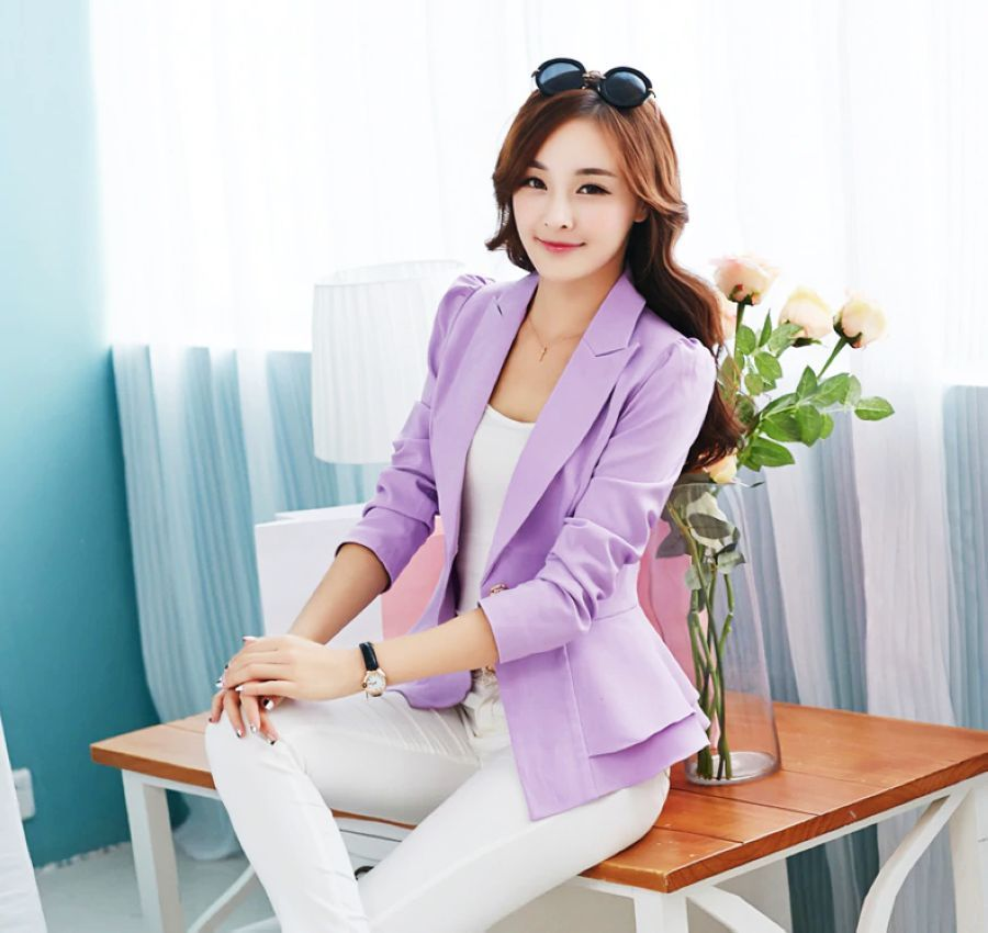 Nf Women Fashion Blazers Long Sleeve Notched Candy Color Slim