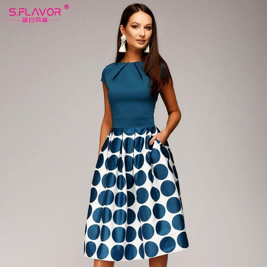 Dresses Sflavor Vintage Women Wave Point Dress Hot Sale Short