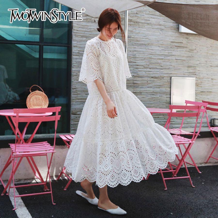 Hollow Out Dress Summer Oversize Big Hem Elegant Beach Dress