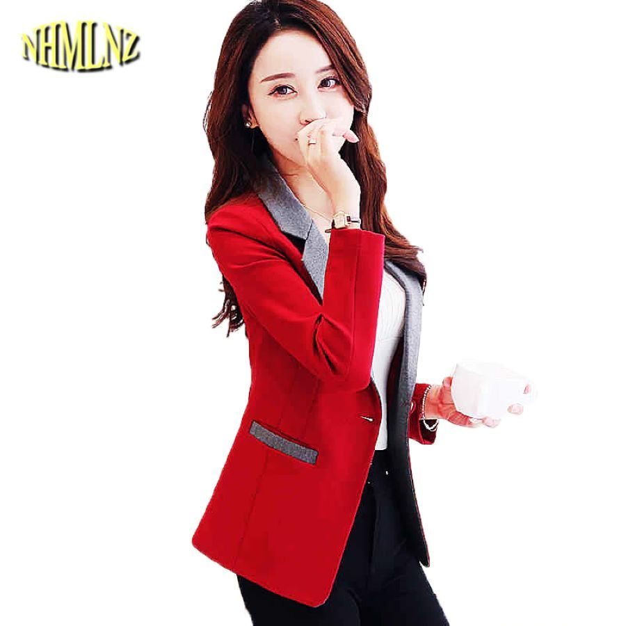 2019 Autumn Solid Color Women Blazers Long Sleeves Slim Coats