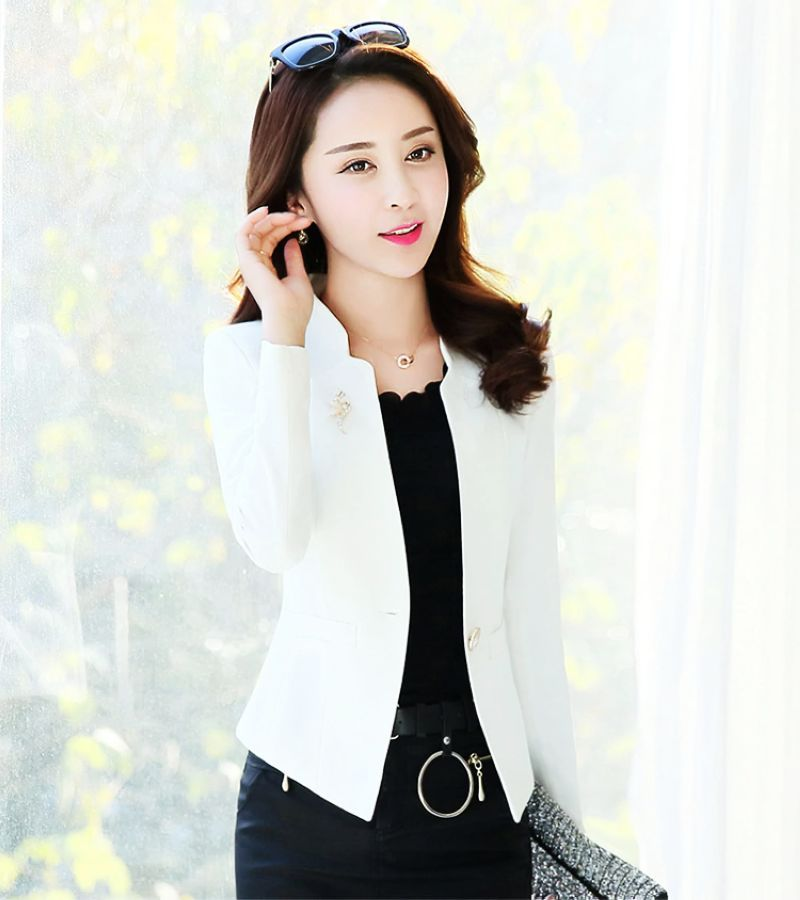 J61252 white colorful new fashion women blazer casual suit jacket