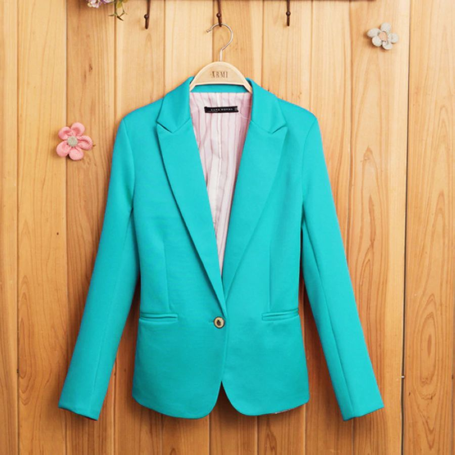 Candy-Colored Women Suit Long Sleeves Coat New Fashion Jacket Blazer