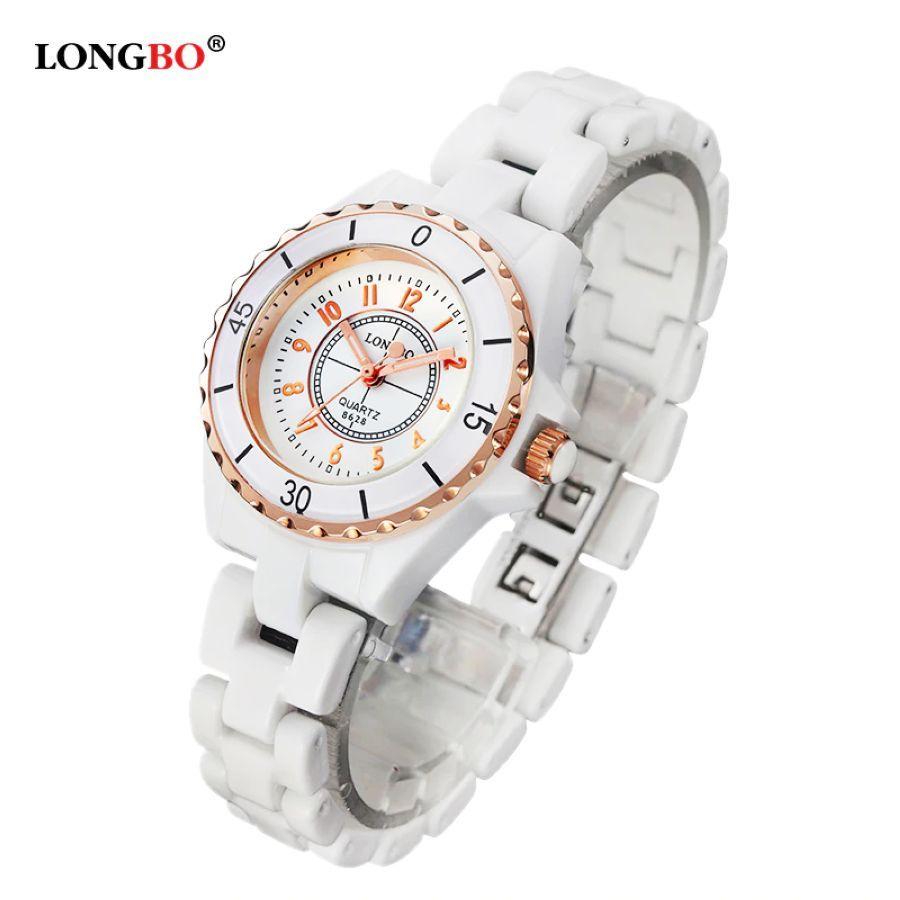 New Luxury Brand Longbo Women White Ceramic Watch Fashion Gold