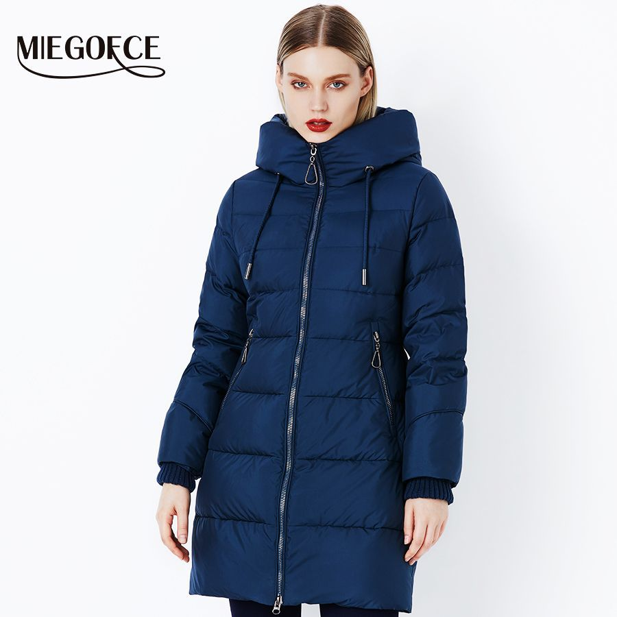 Miegofce 2019 Winter Women Coat Jacket With A Hood And