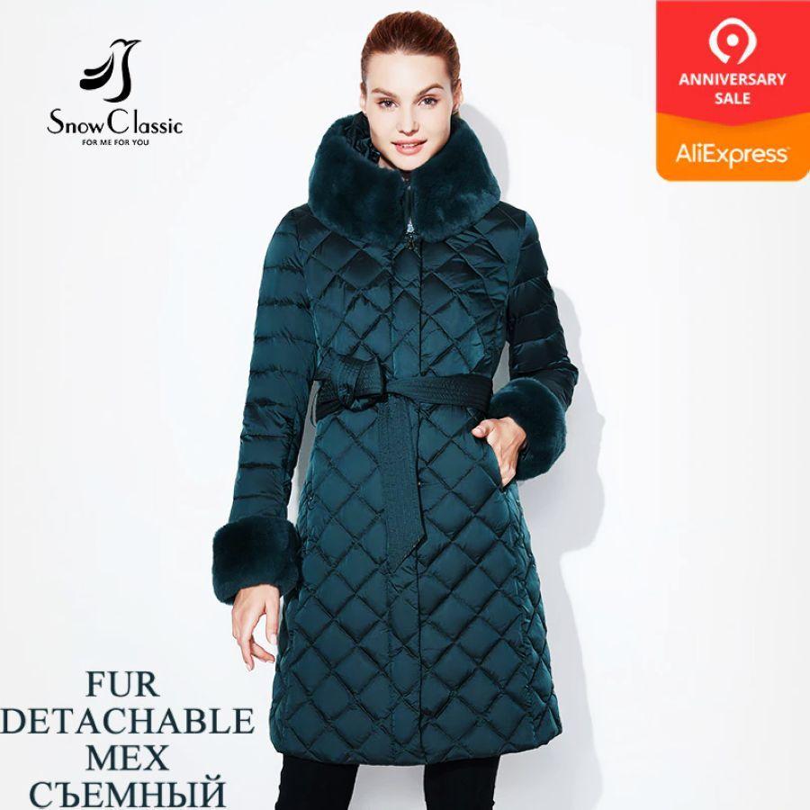 Chaqueta de mujer de nieve clásica abrigo de piel de in