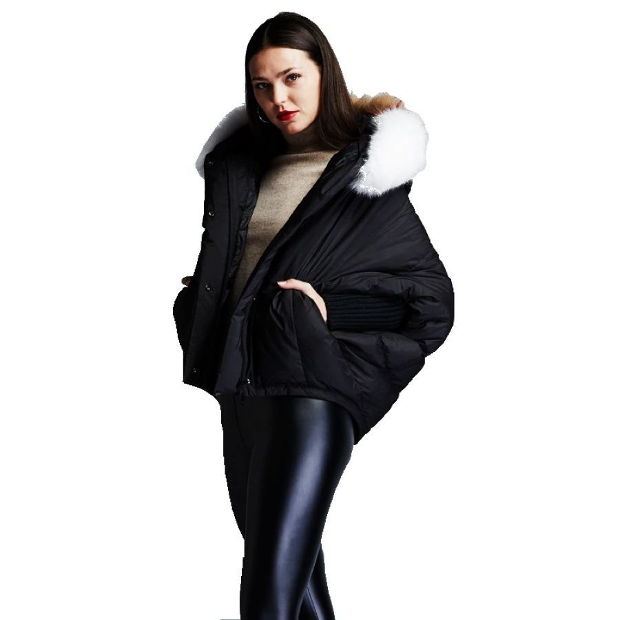 Winter Womens Fashion Short Down Jackets Big Hair Collar Hooded