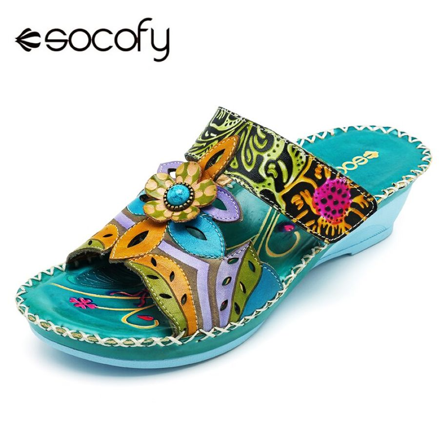 Shoes Socofy Bohemian Genuine Leather Shoes Women Sandals Vintage Printing
