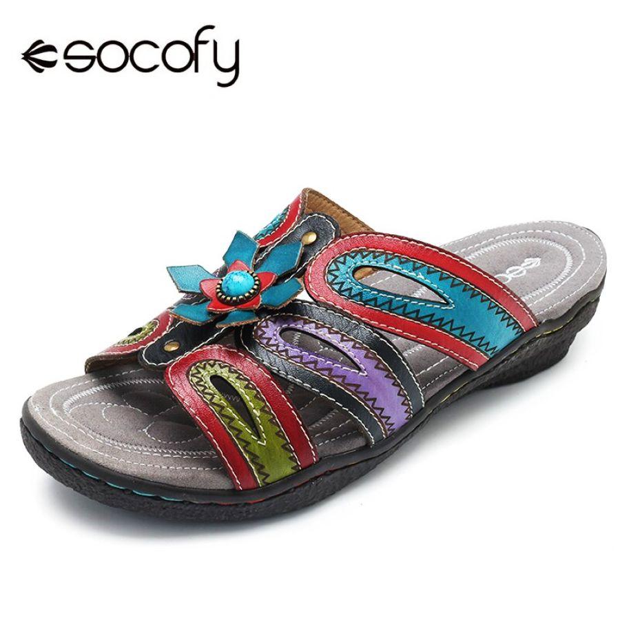 Socofy Retro Bohemian Slippers Women Shoes Handmade Gen