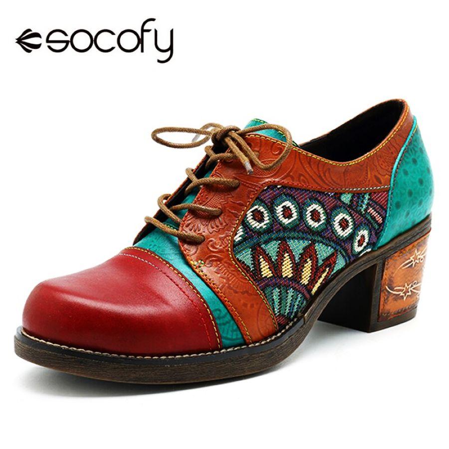 Socofy Bohemian Patchwork Ankle Pumps Women Shoes Class