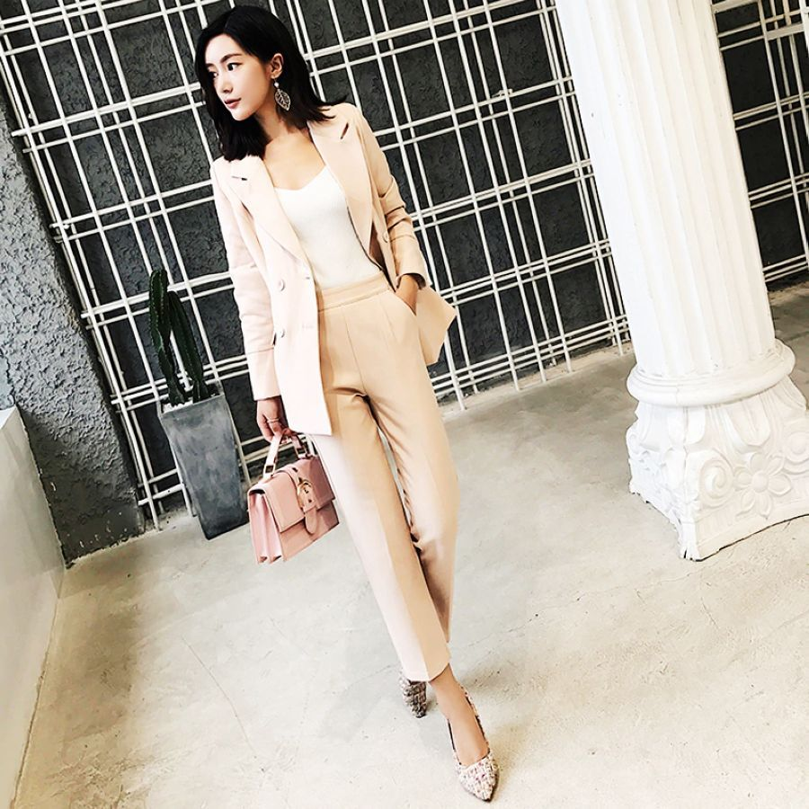 Bgteeveer Casual 2 Pieces Set Women Pant Suits Notched Collar