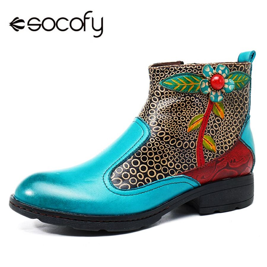 Socofy Bohemian Retro Genuine Leather Ankle Boots Women