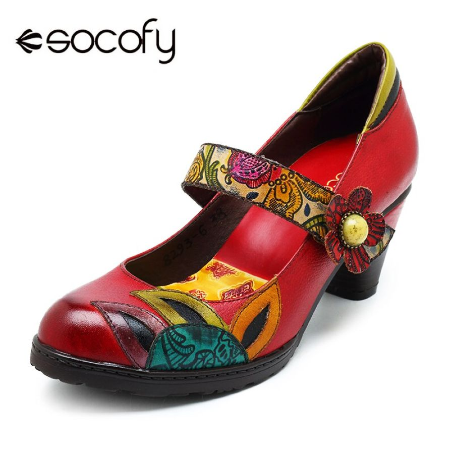 Shoes Socofy Vintage Printed Pumps Women Shoes Genuine Leather Block