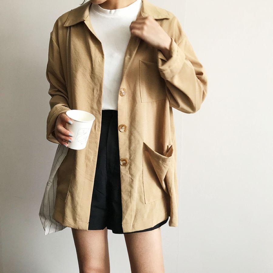 Autumn Safari Style Women Blouse Solid Long Sleeve Turn