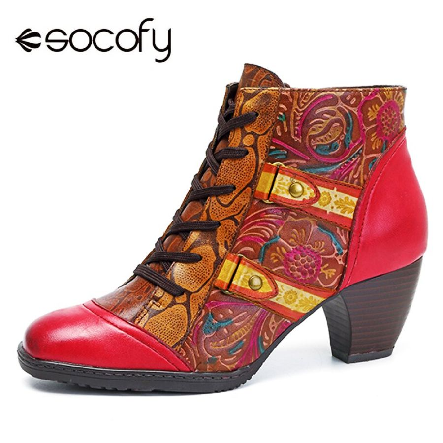 Shoes Socofy Vintage High Heel Boots Women Shoes Retro Bohemian