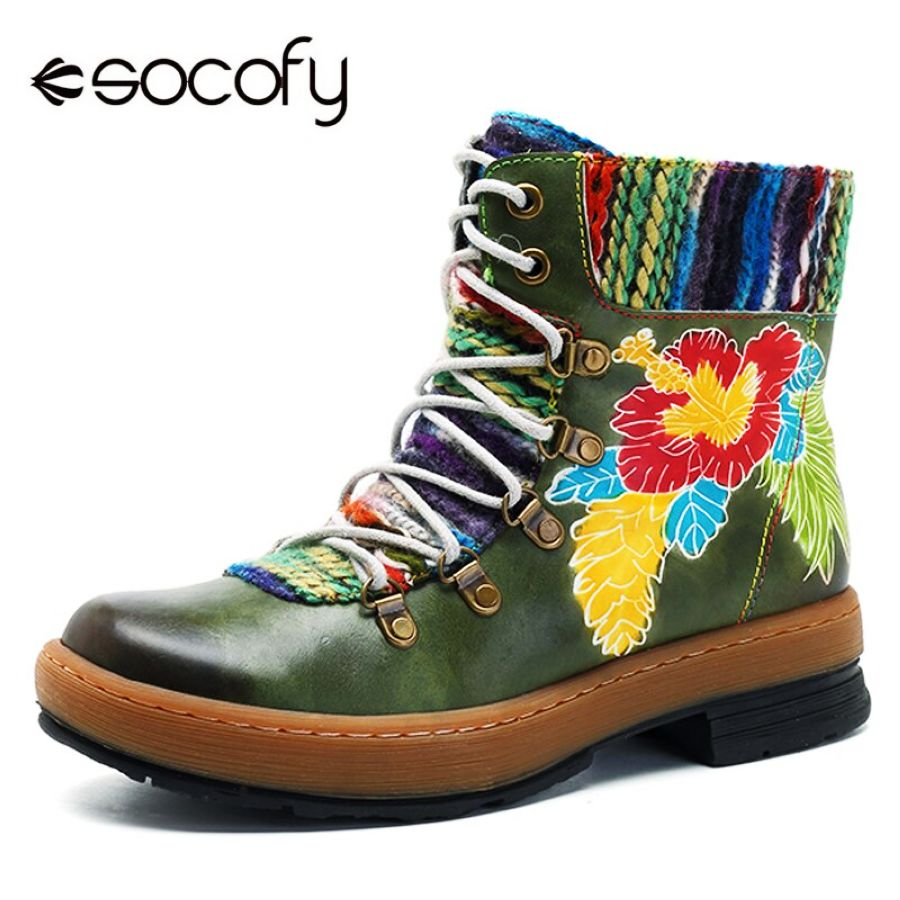 Shoes Socofy Bohemian Ankle Boots Women Shoes Genuine Leather Flower