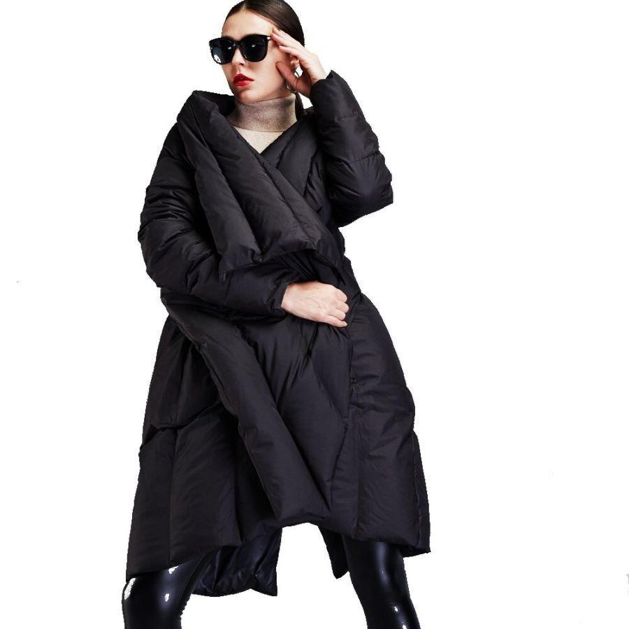 Winter New Stylish Womens Down Jackets Irregular Cloak Style Down