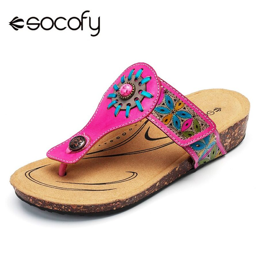 Shoes Socofy Bohemian Beach Slippers Women Shoes Vintage Flower Genuine
