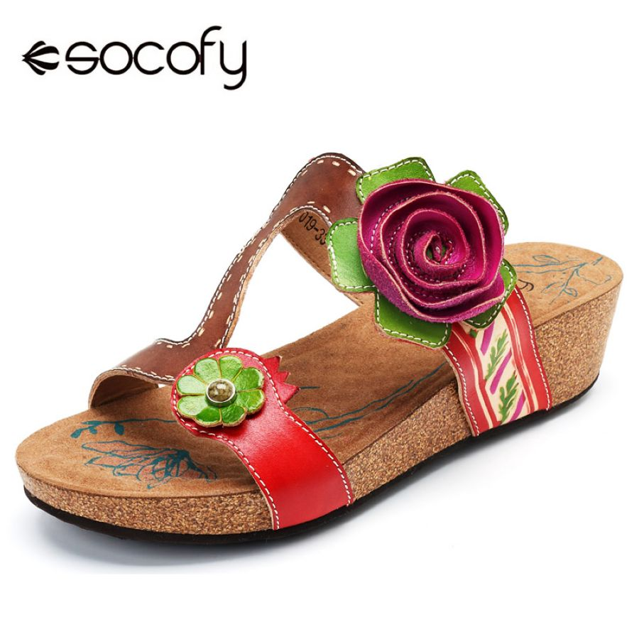 Shoes Sodofy Bohemian Slippers Women Shoes Vintage Genuine Leather Shoes