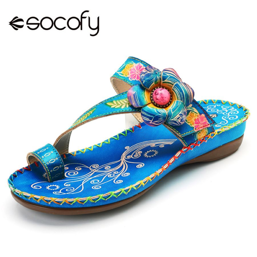 Shoes Socofy Bohemian Beach Slippers Women Shoes Genuine Leather Slides