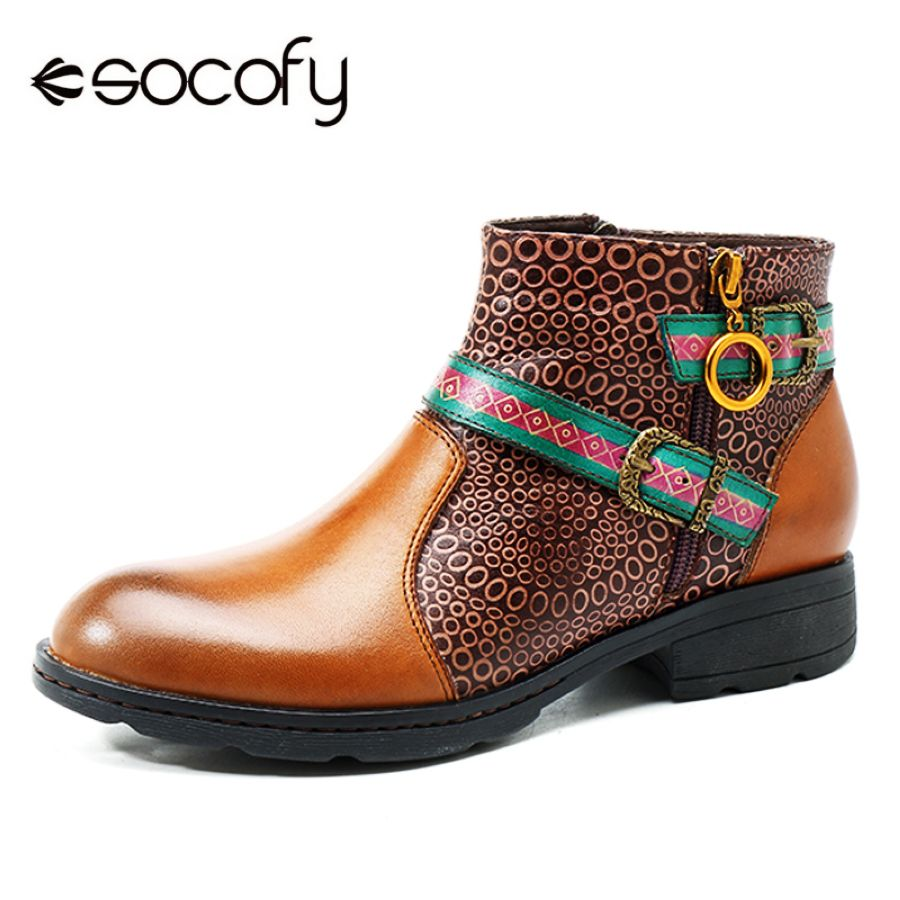 Shoes Socofy Vintage Handmade Boots Women Printed Splicing Genuine Leather