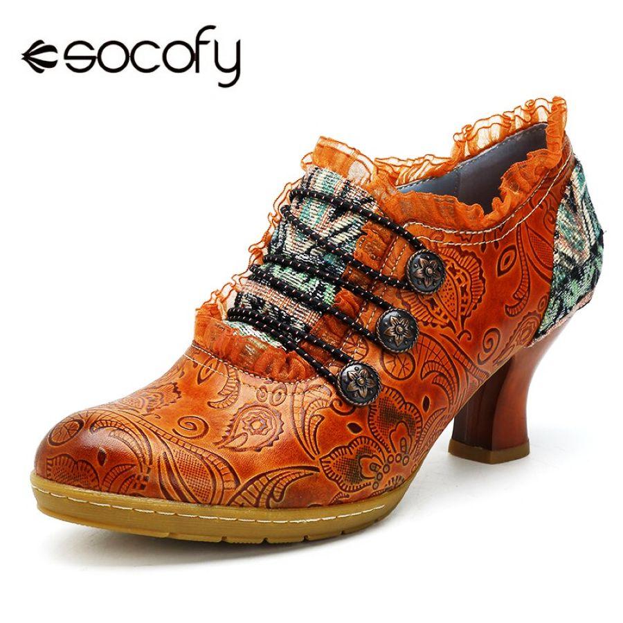 Shoes Socofy Vintage Genuine Leather Pumps Women Shoes Retro Bohemian