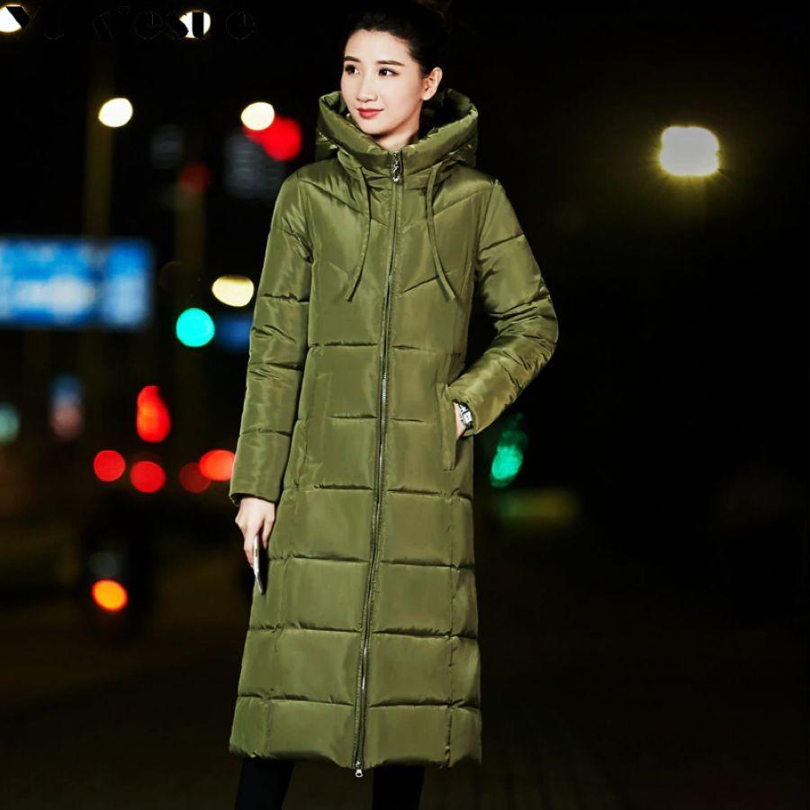 Abrigo largo de invierno grueso para mujer ropa de niev