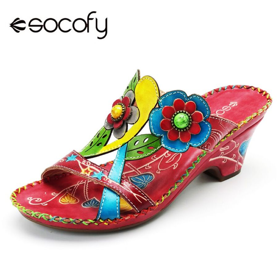 Shoes Socofy Bohemian Genuine Leather Sandals Women Shoes Vintage Handmade