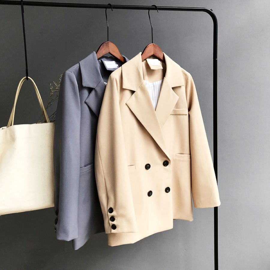 Mooirue Winter Woman Blazer Jacket Coat Double Breasted Cotton Chic