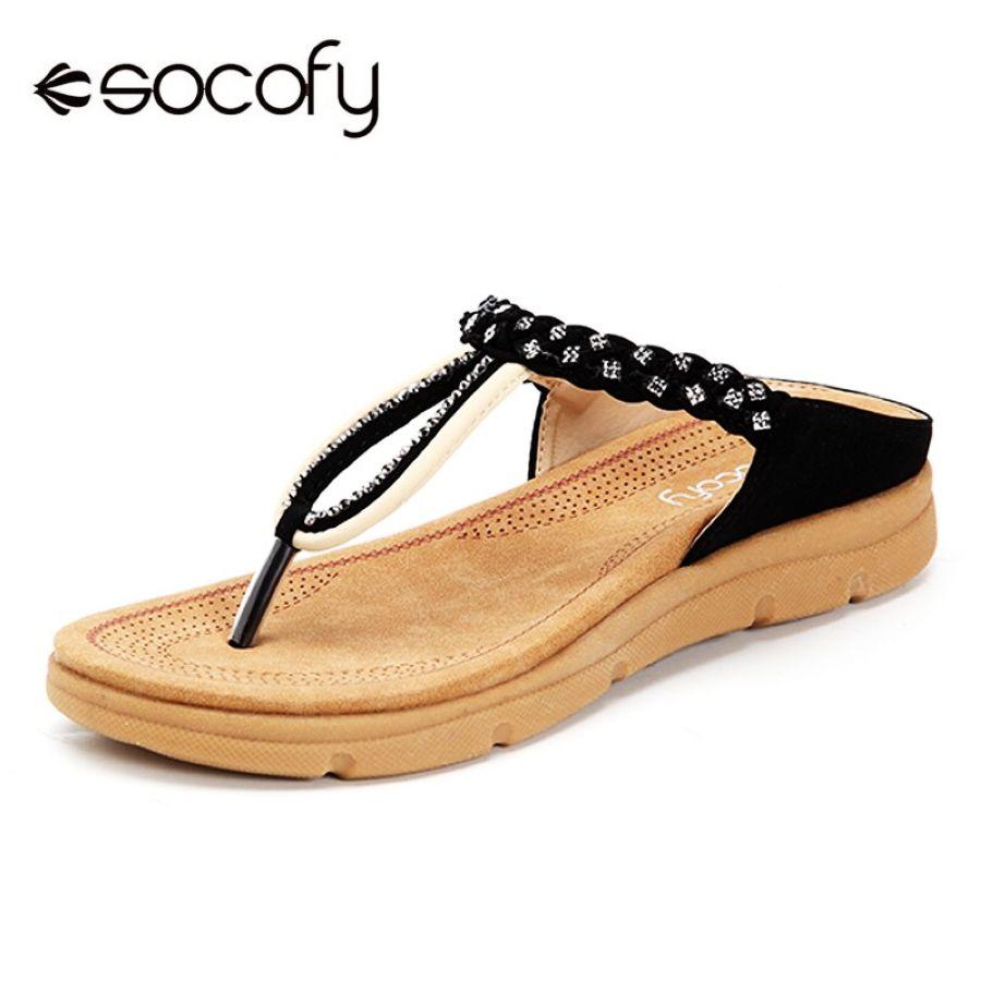 Socofy clip toe t-strap sandalias mujer zapatos verano