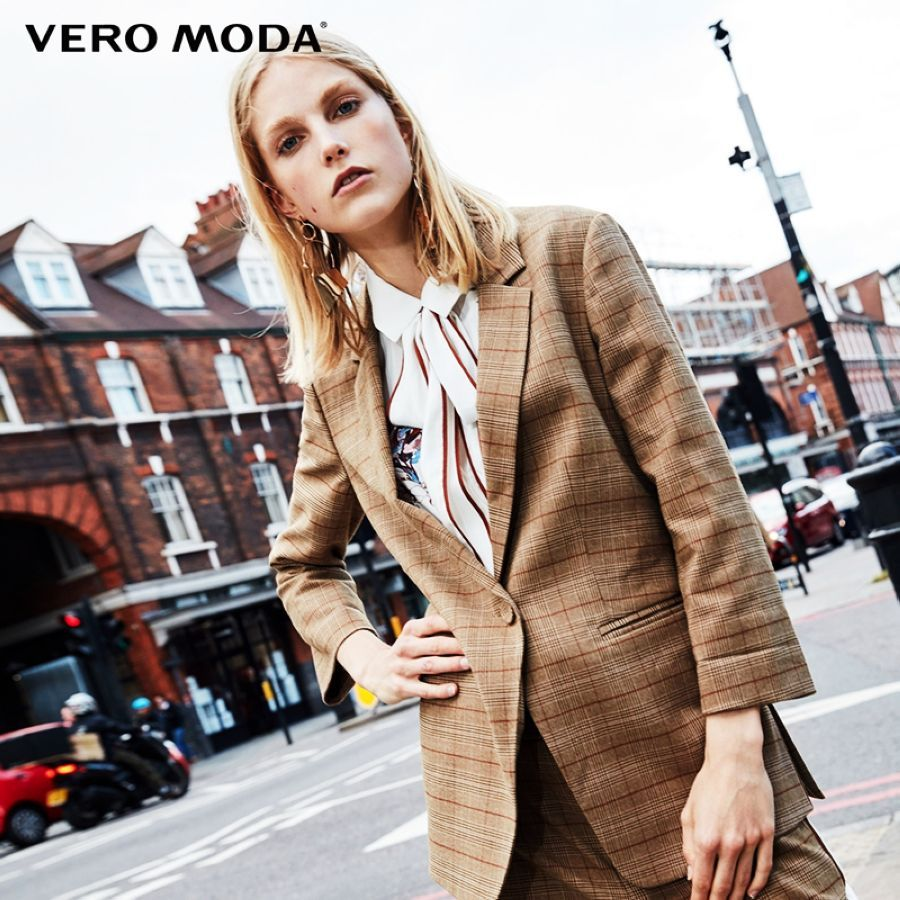Vero moda three-quarter sleeves plaid long jacket blazer 318308518