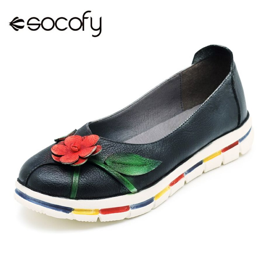Shoes Socofy Moccasins Flats Women Shoes Vintage Genuine Leather