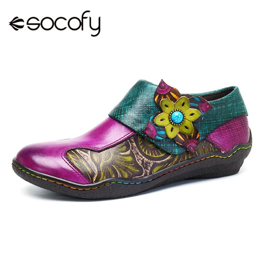 Shoes Socofy Bohemian Flat Shoes Women Summer Vintage Printed Genuine