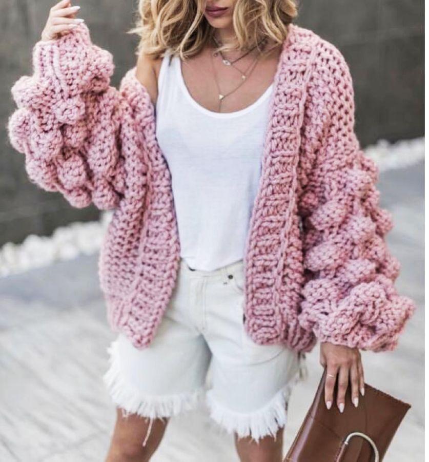 2019 Autumn Winter Women Sweater Ball Lantern Sleeved Cardigans Female