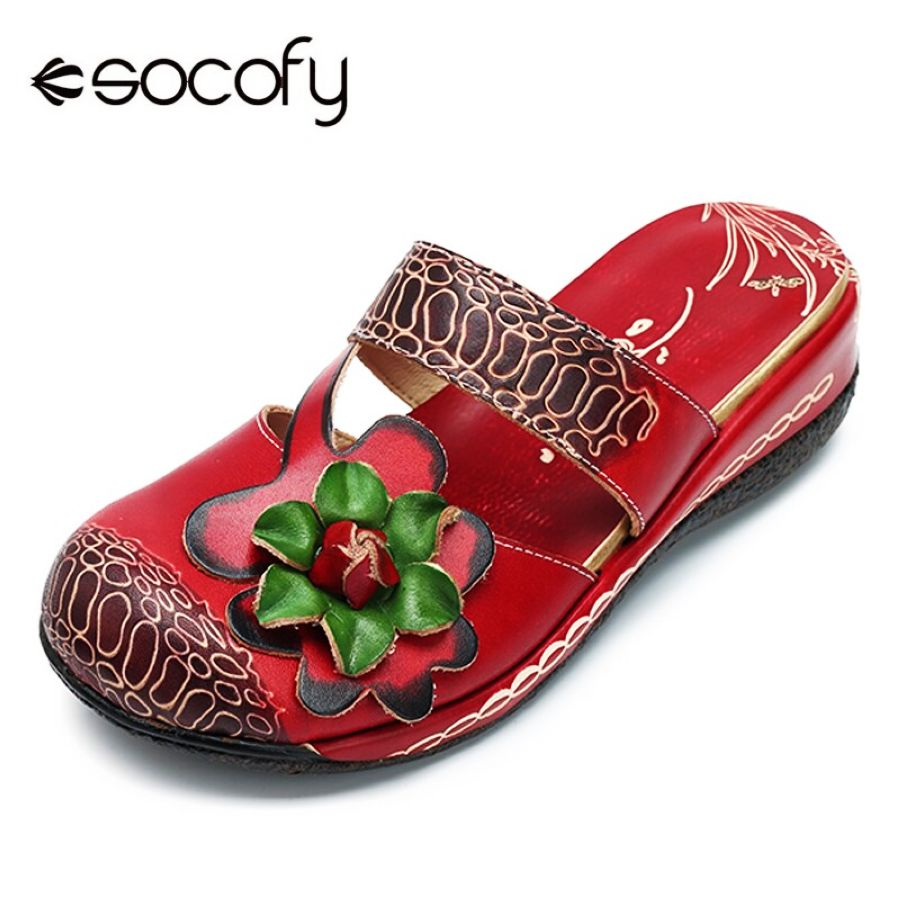 Socofy Vintage Bohemian Slippers Beach Genuine Leather