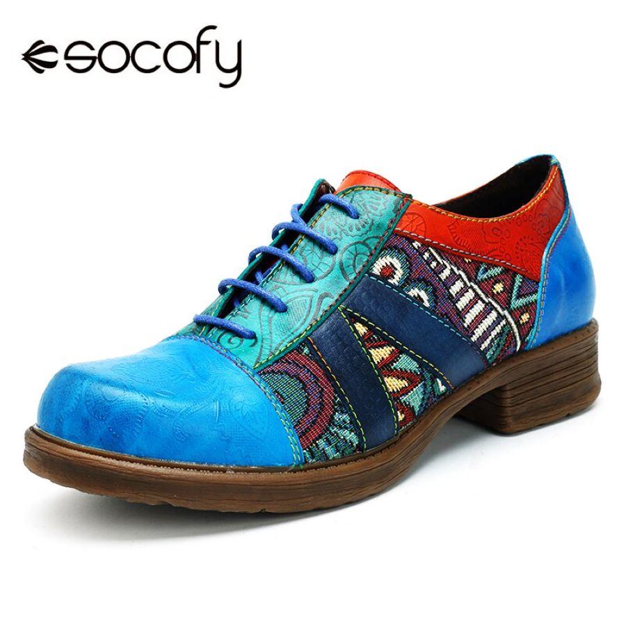 Socofy mujeres retro bohemio zapatos planos de cuero ge