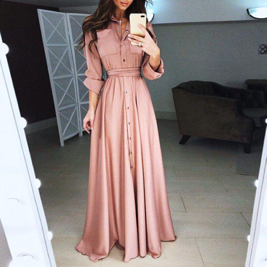 Elegant Women Fashion Long Sleeve Bandage Maxi Shirt Party Dress