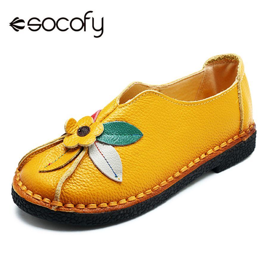Socofy Retro Genuine Leather Flats Women Shoes Woman Vi