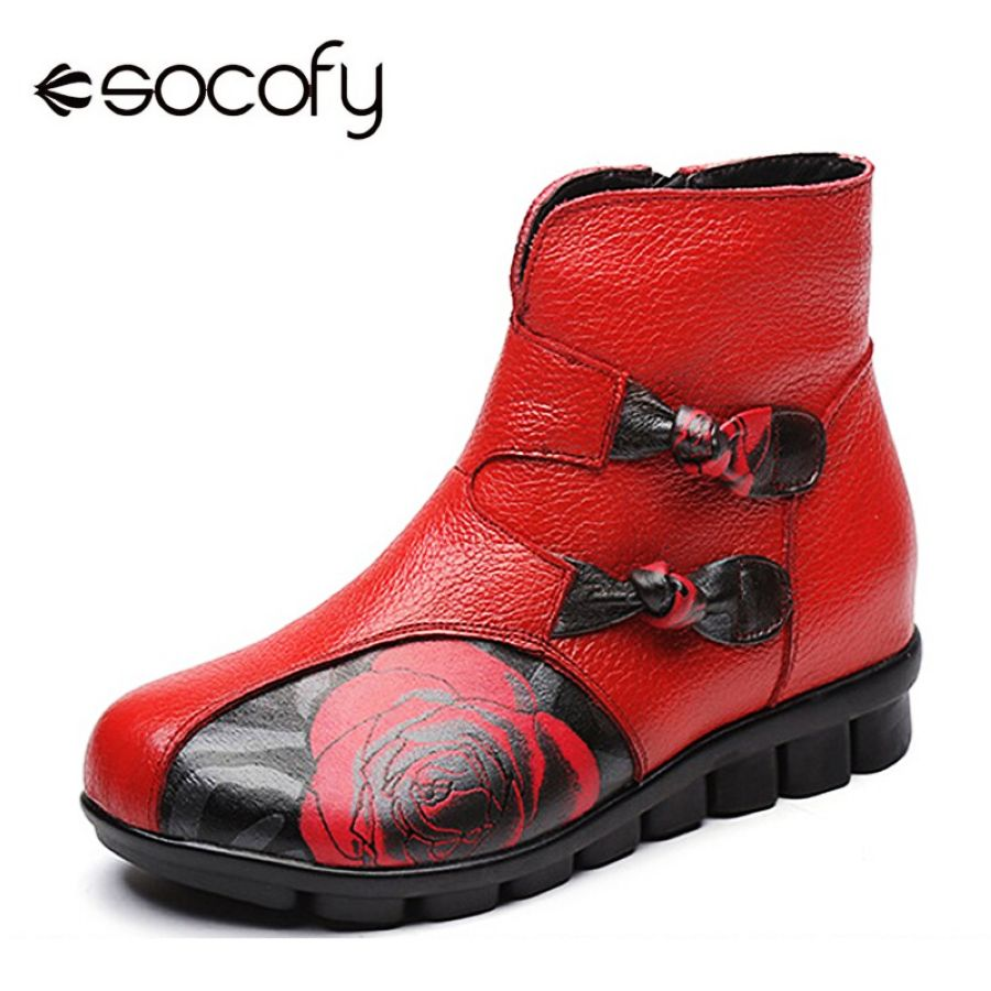 Shoes Socofy Vintage Fur-Lined Boots Women Shoes Genuine Leather Ankle