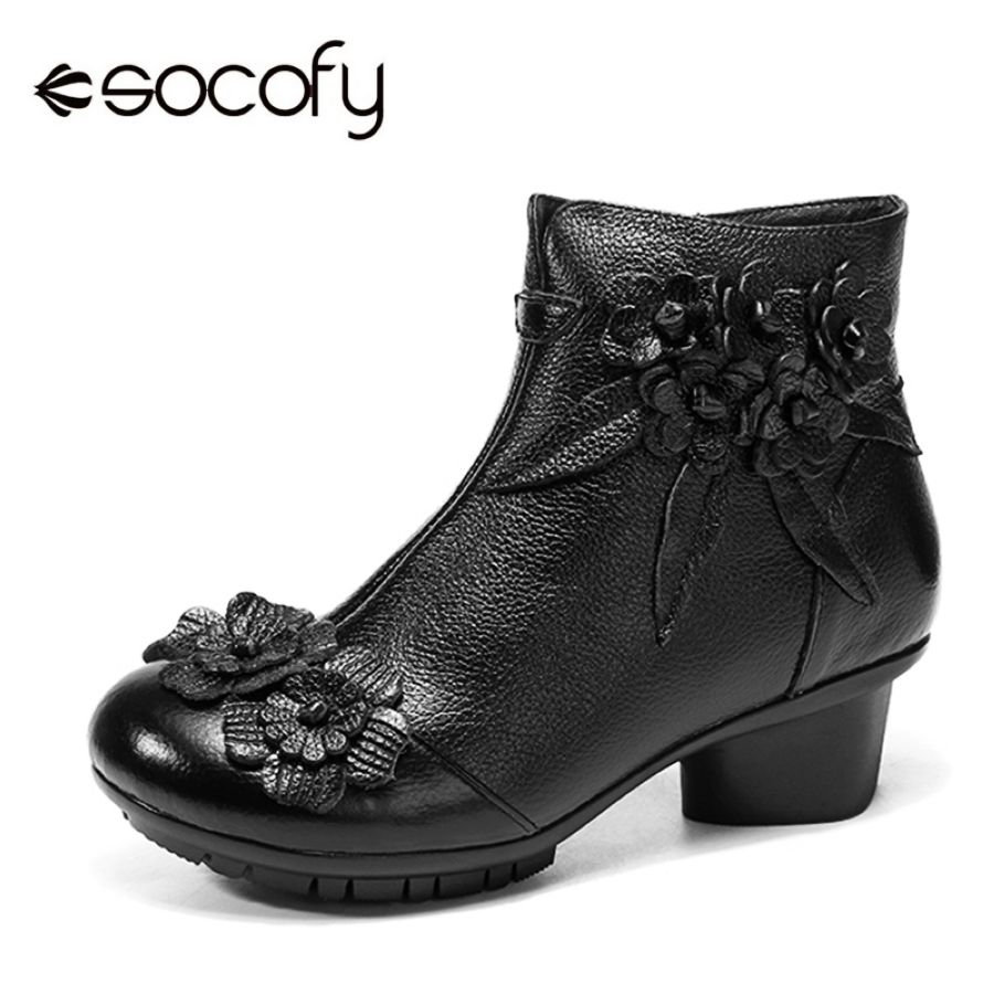 Shoes Socofy Vintage Flower Ankle Boots Women Shoes Genuine Leather