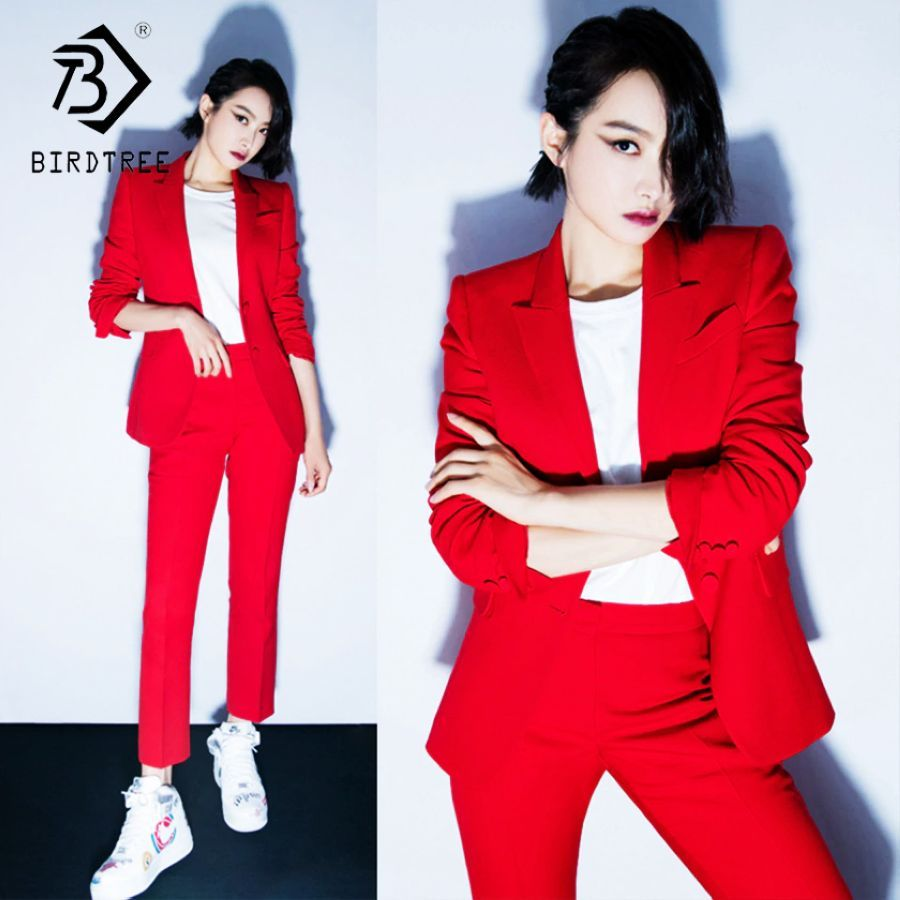 Womens Office Lady Two Pieces Sets Solid Red Elegant Single
