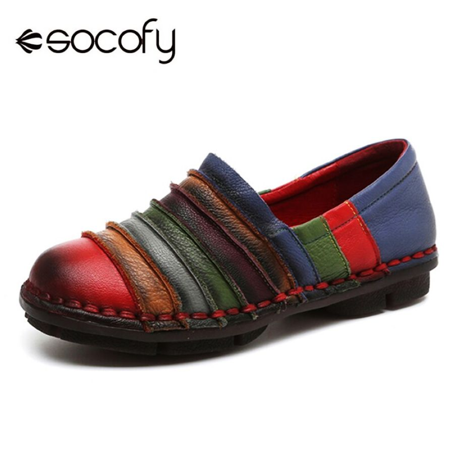 Shoes Socofy Rainbow Stripe Genuine Leather Flat Shoes Woman Vintage
